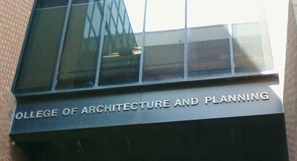 "Poorly planned sign on the ""college of planning"" building (ran out of space)"