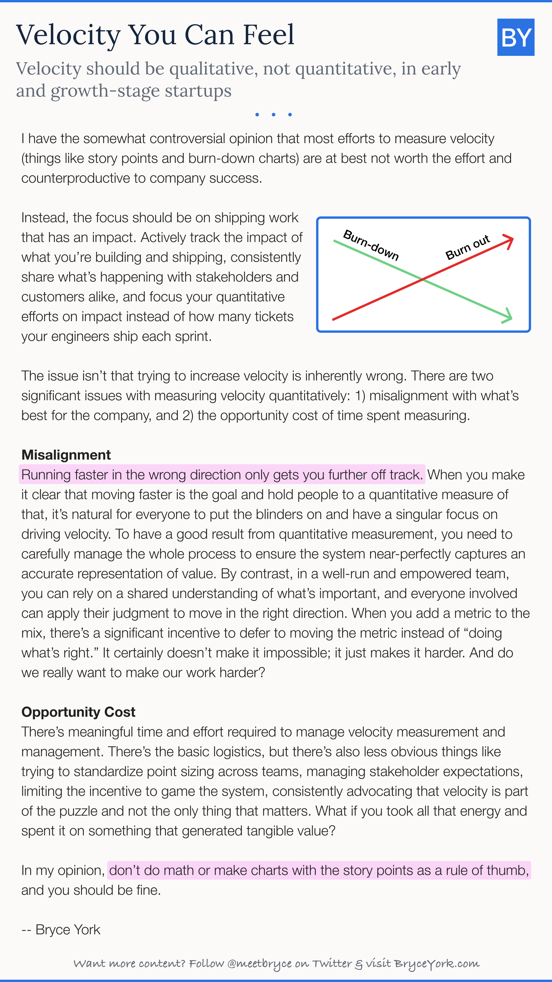 Velocity should be qualitative, not quantitative, in early and growth-stage startups
